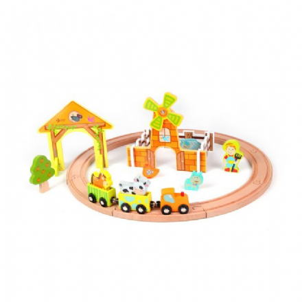 Classic World Wooden Farm Train Starter Set